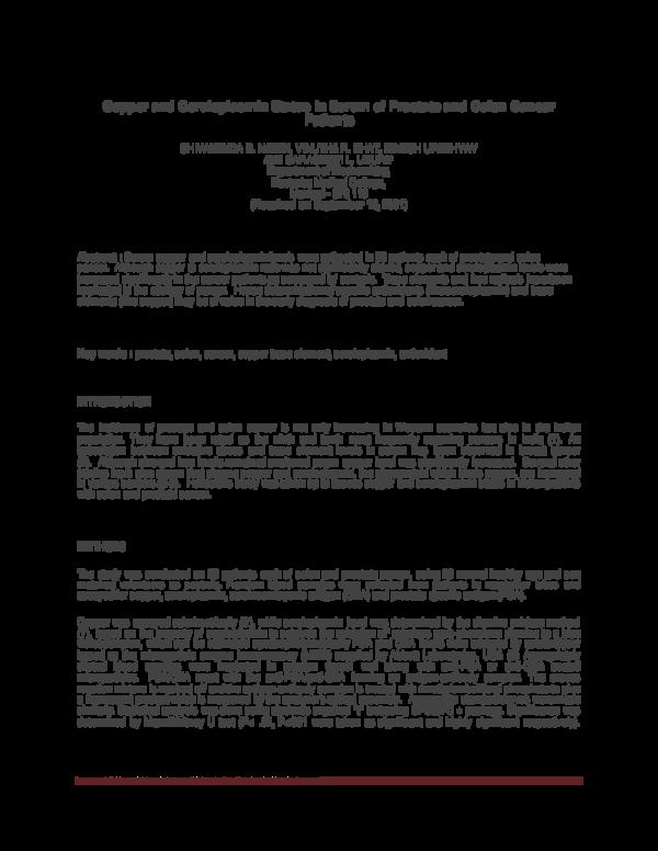 Pdf Copper And Ceruloplasmin Status In Serum Of Prostate And Colon Cancer Patients Shivananda Nayak Academia Edu