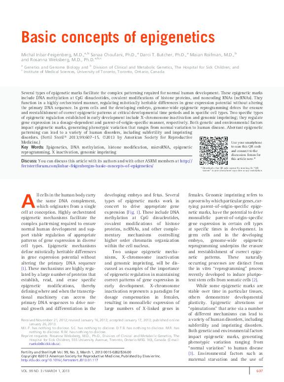 PDF) Basic concepts of epigenetics | Sanaa Choufani