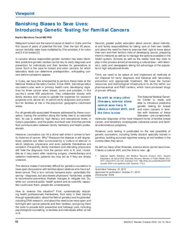 PDF) Banishing biases to save lives: introducing genetic testing for  familial cancers | Beatriz Marcheco-Teruel - Academia.edu