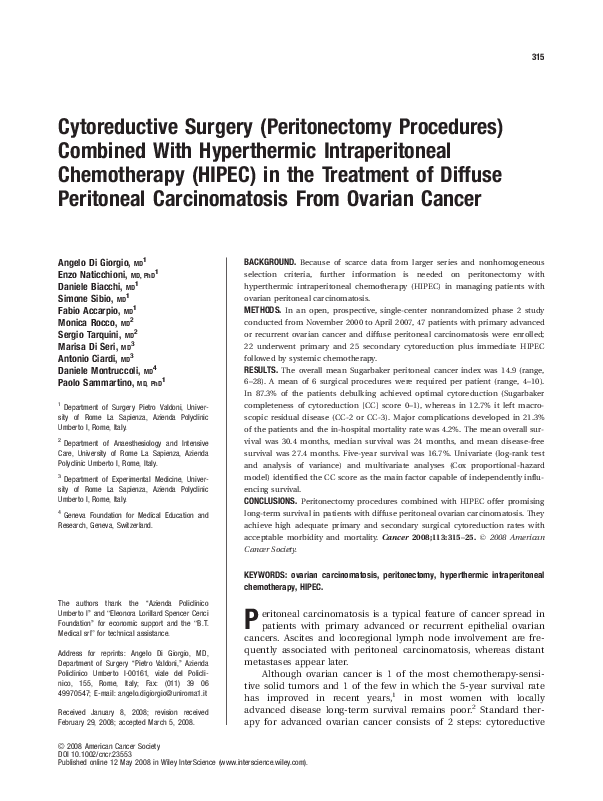 Pdf 8032 Cytoreductive Surgery Peritonectomy Procedures Combined With Hyperthermic Intraperitoneal Chemotherapy Hipec In The Treatment Of Diffuse Peritoneal Carcinomatosis From Ovarian Cancer S Gazzanelli And D Biacchi Academia Edu