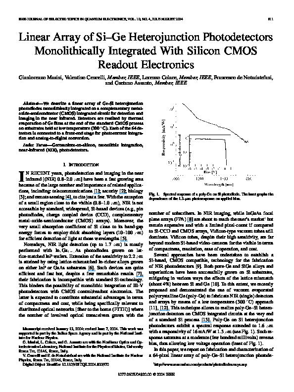 PDF) Linear Array of Si–