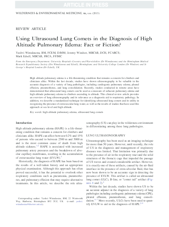 PDF) Using Ultrasound Lung Comets in the Diagnosis of High