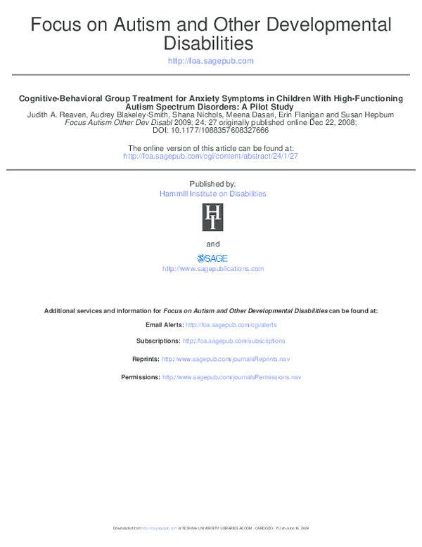 PDF) Cognitive-Behavioral Group Treatment for Anxiety