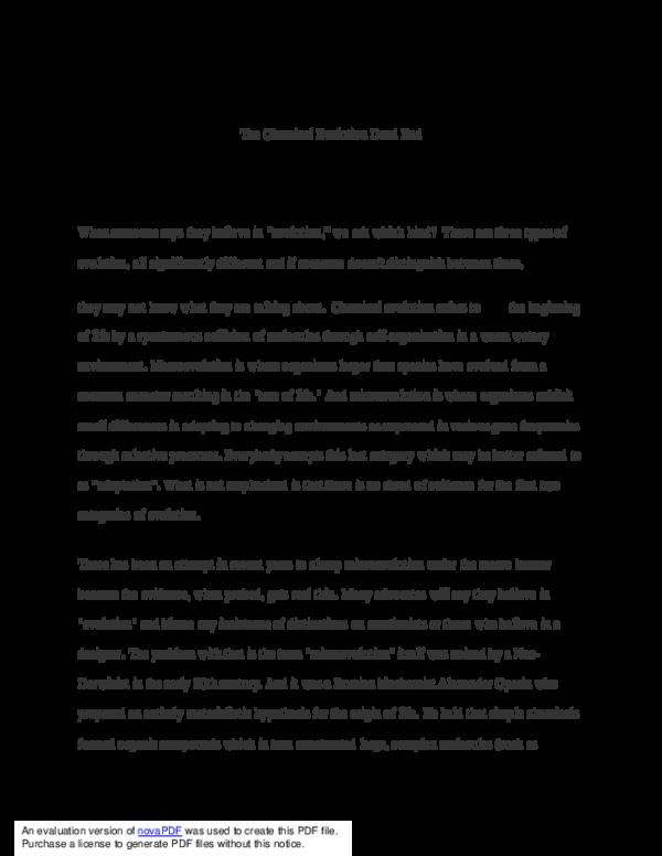 PDF) The Chemical Evolution Dead End   scott chandler