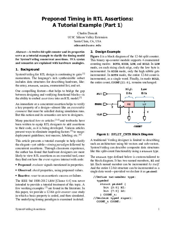PDF) Preponed Timing in RTL Assertions: A Tutorial Example (Part 1