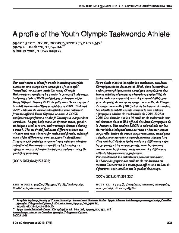 PDF) A profile of the Youth Olympic Taekwondo Athlete