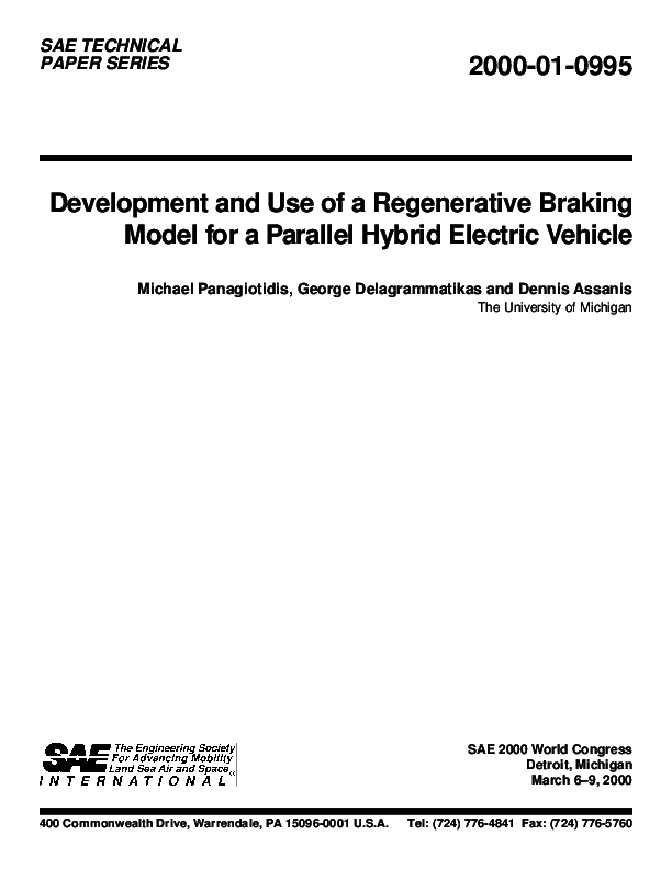 PDF) Development and Use of a Regenerative Braking Model for a