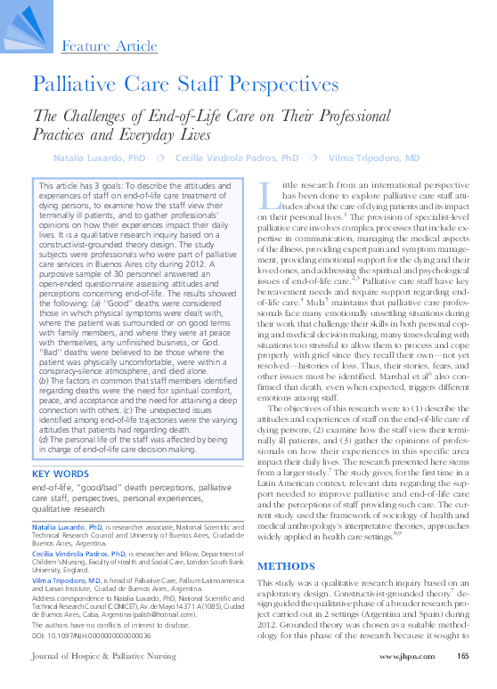 PDF) Palliative Care Staff Perspectives   Natalia Luxardo