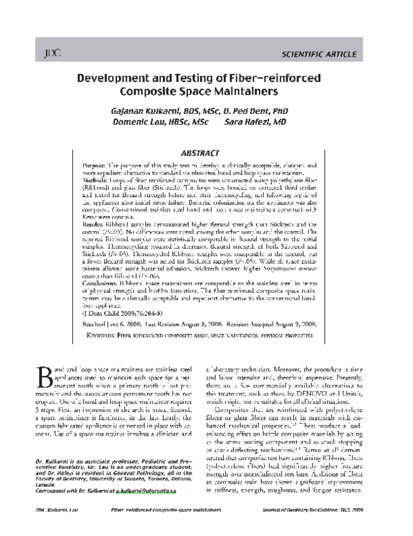 Pdf Development And Testing Of Fiber Reinforced Composite Space