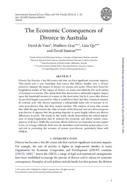 Pdf The Economic Consequences Of Divorce In Australia David De Vaus Academia Edu