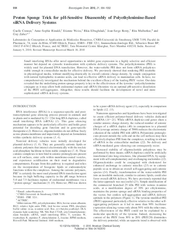 PDF Proton Sponge Trick For PH Sensitive Disassembly Of