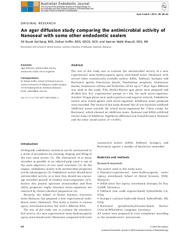 PDF) An agar diffusion study comparing the antimicrobial activity of