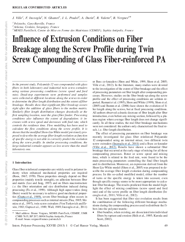 PDF) Influence of Extrusion Conditions on Fiber Breakage along the
