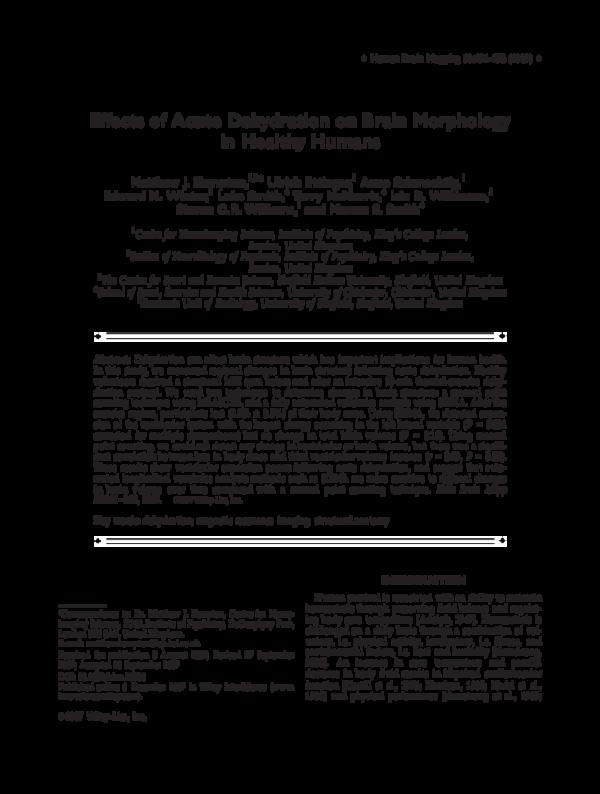 PDF) Effects of acute dehydration on brain morphology in