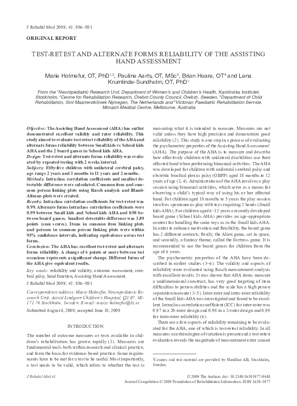 PDF) Test-retest and alternate forms reliability of the