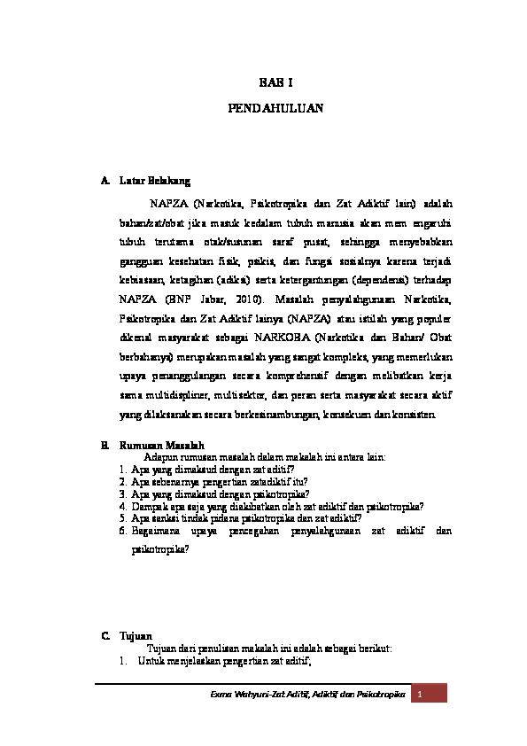 Pdf Makalah Zat Aditif Adiktif Dan Psikotropika Exma Wahyuni Academia Edu