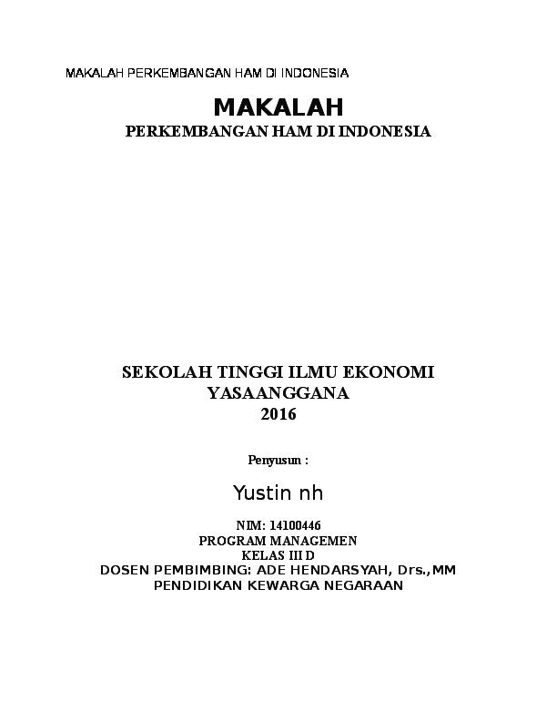 Doc Makalah Perkembangan Ham Di Indonesia Yustin Rifan Academia Edu