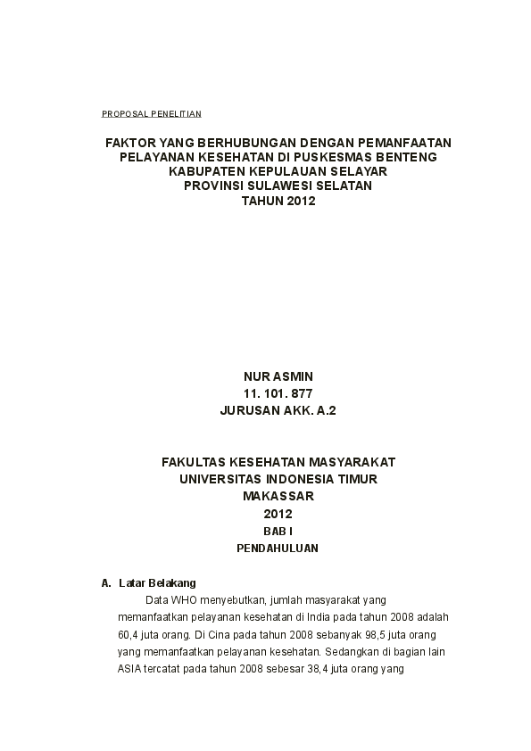 Doc Proposal Penelitian Fkm Akk Nana Nanami Academia Edu