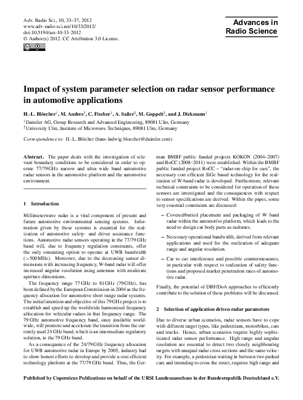 PDF) Impact of system parameter selection on radar sensor