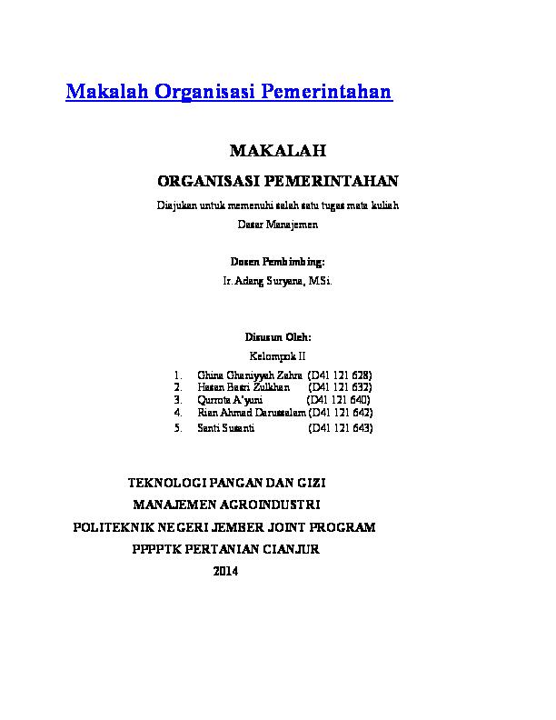 Doc Makalah Organisasi Pemerintahan Harmiko Lianda Academia Edu