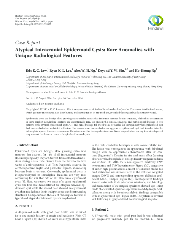 PDF) Atypical Intracranial Epidermoid Cysts: Rare Anomalies