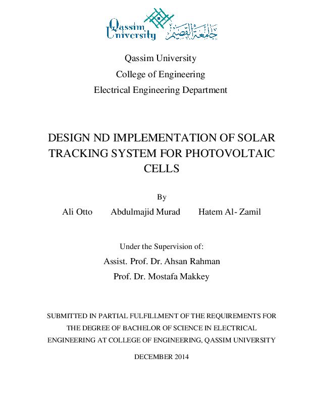 PDF) DESIGN ND IMPLEMENTATION OF SOLAR TRACKING SYSTEM FOR