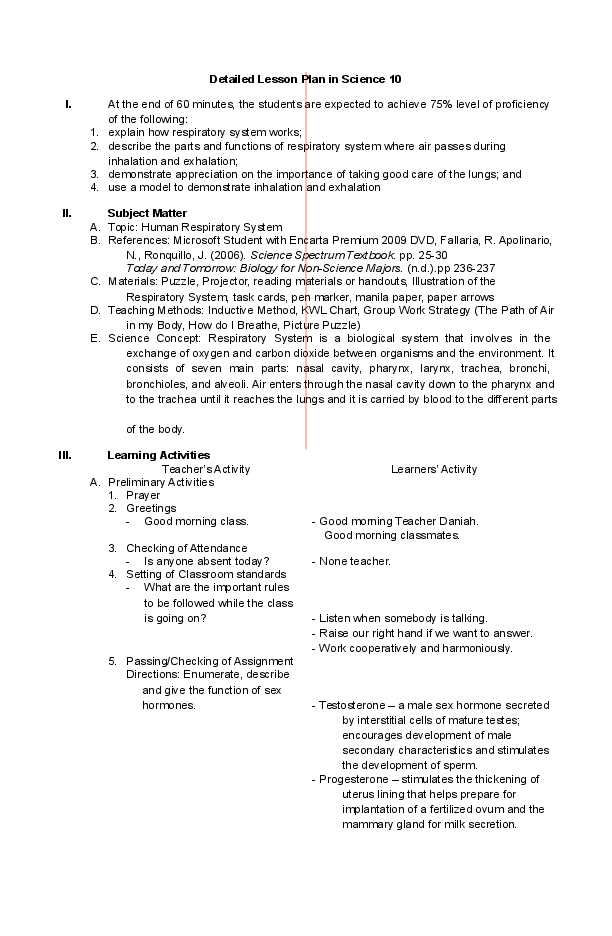 parts of a detailed lesson plan