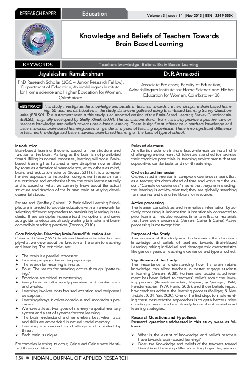 dissertation on brain based learning online