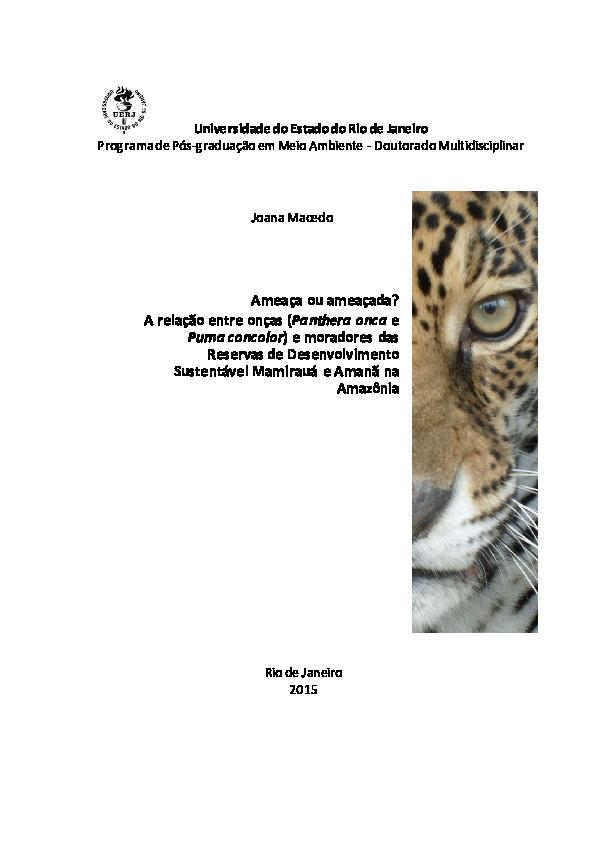 c74be00993 PDF) Ameaça ou ameaçada  A relação entre onças (Panthera onca e Puma ...