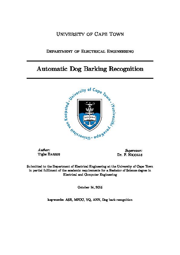 PDF) Automatic Dog Barking Recognition | Tighe Barris - Academia edu