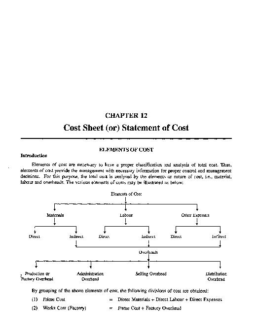 PDF) Chapter 12 Cost Sheet or Statement of Cost | prasanth talluri