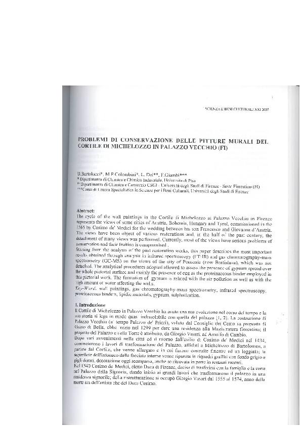 Pdf Problemi Di Conservazione Delle Pitture Murali Del Cortile Di Michelozzo In Palazzo Vecchio Fi Francesca Giambi Academia Edu