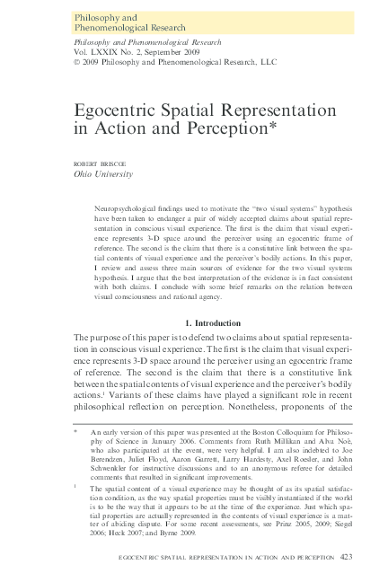 PDF) Egocentric Spatial Representation in Action + Perception