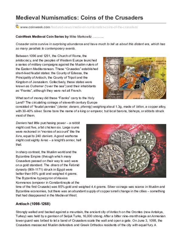 PDF) Coins of the Crusaders | Mike Markowitz - Academia edu