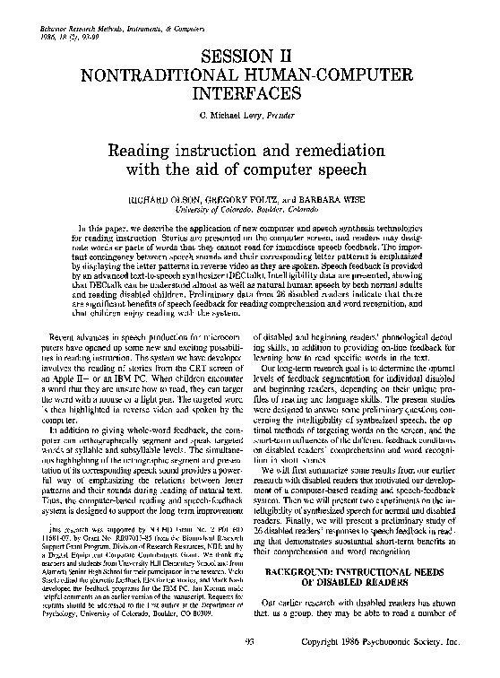 PDF) Reading instruction and remediation with the aid of computer