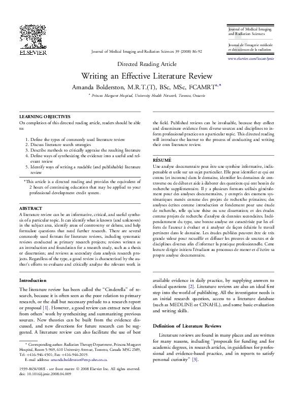 writing an effective literature review bolderston