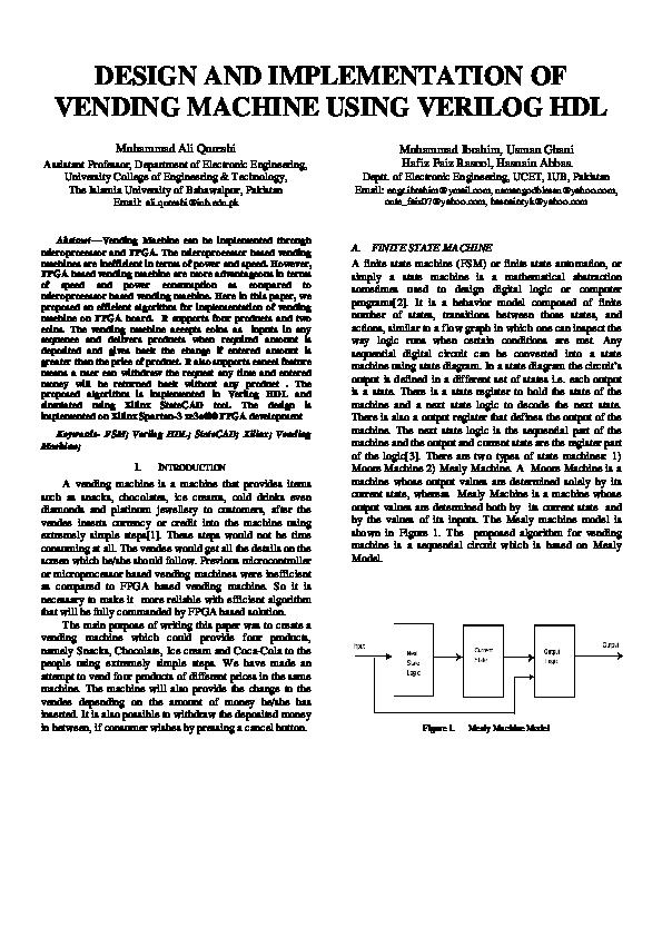Design And Implementation Of Vending Machine Using Verilog Hdl