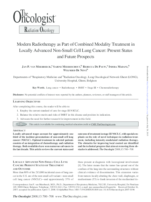 PDF) Modern Radiotherapy as Part of Combined Modality