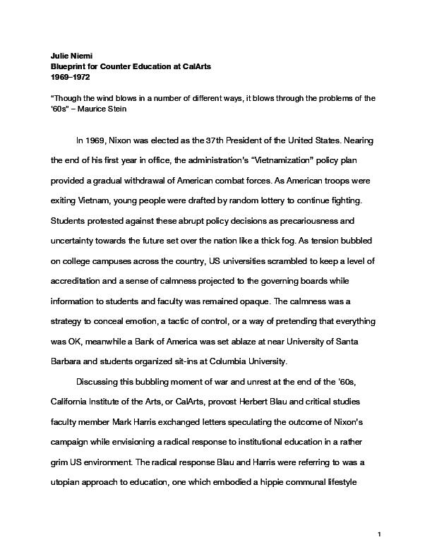PDF) Blueprint for Counter Education at CalArts | Julie