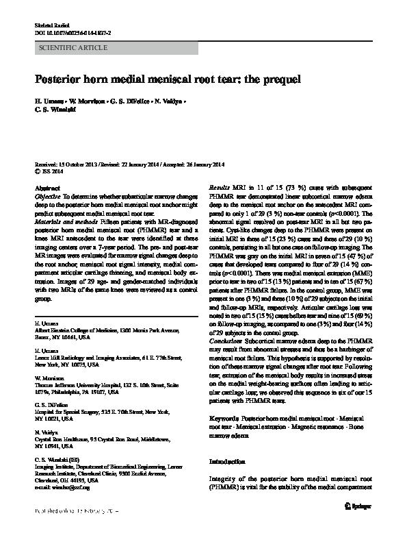 PDF) Posterior horn medial meniscal root tear: the prequel