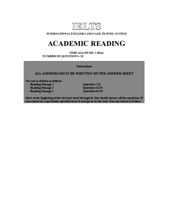 IELTS INTERNATIONAL ENGLISH LANGUAGE TESTING SYSTEM ACADEMIC READING
