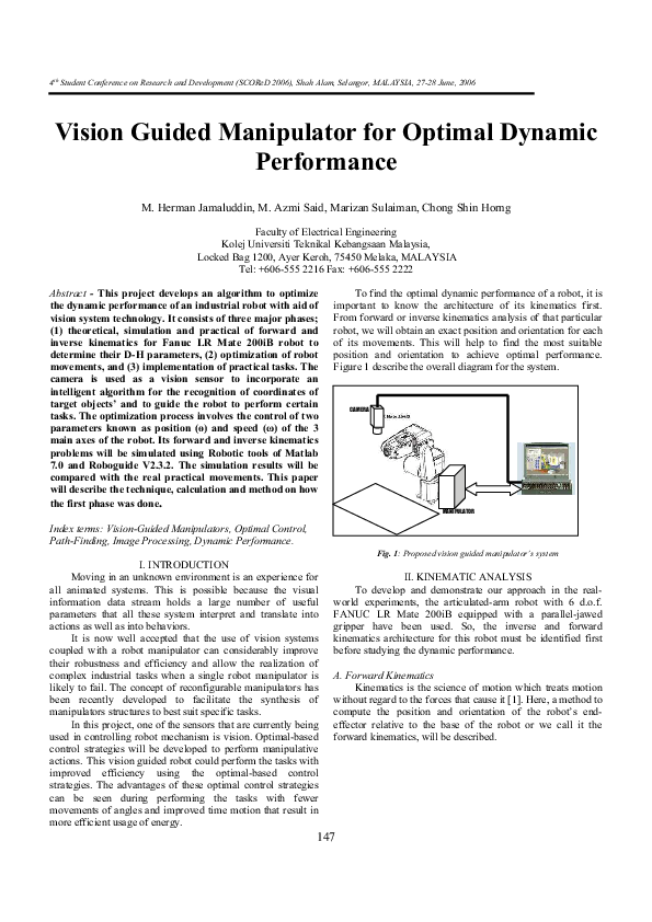 PDF) Vision Guided Manipulator for Optimal Dynamic