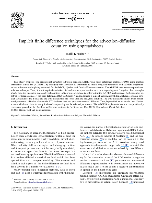 PDF) Implicit finite difference techniques for the advection
