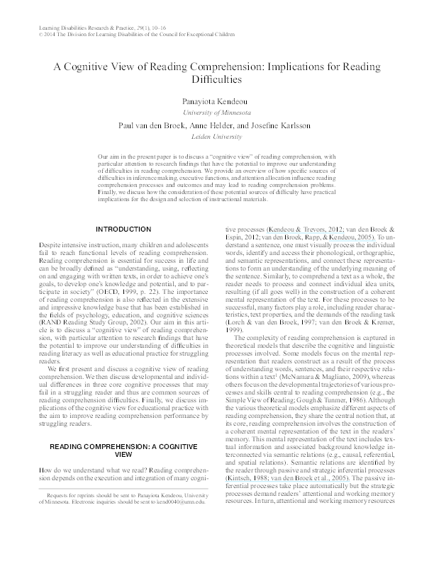 PDF) A Cognitive View of Reading Comprehension: Implications
