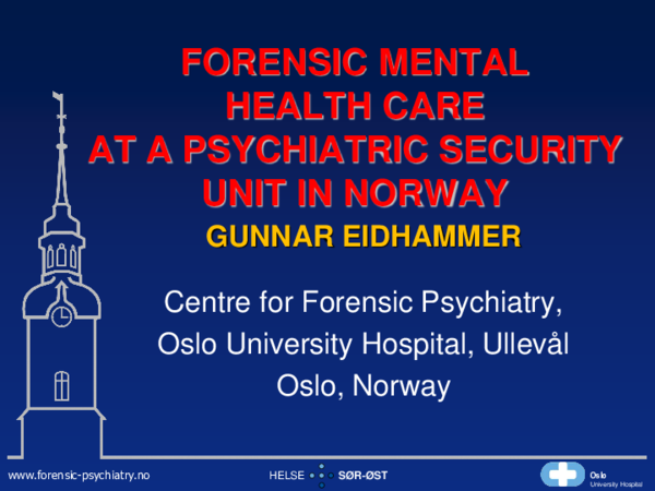 PDF) FORENSIC MENTAL HEALTH CARE AT A PSYCHIATRIC SECURITY