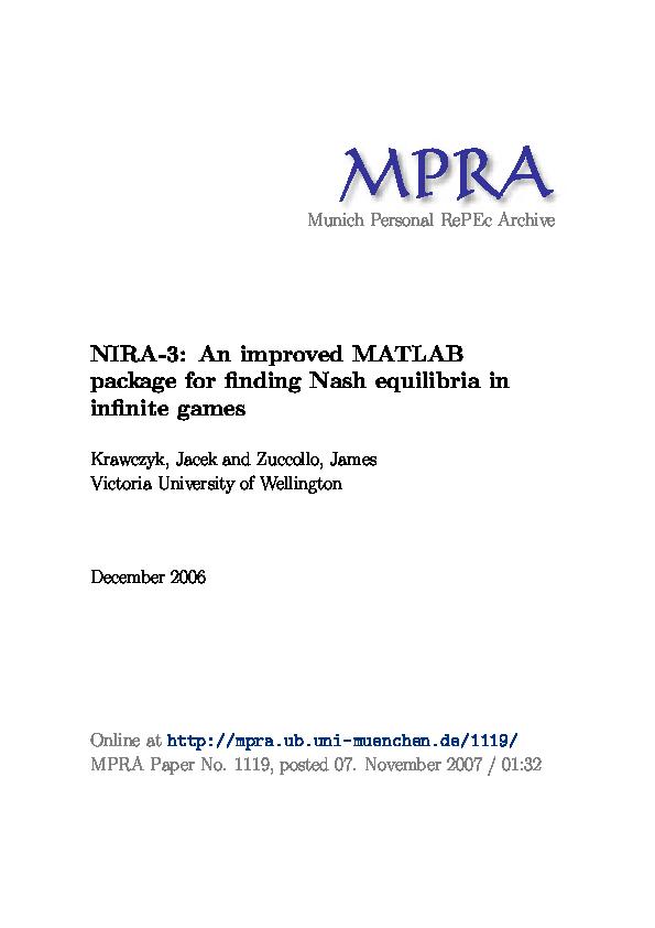 PDF) NIRA-3: An improved MATLAB package for finding Nash