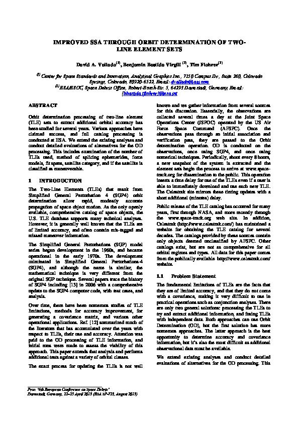PDF) IMPROVED SSA THROUGH ORBIT DETERMINATION OF TWO- LINE ELEMENT
