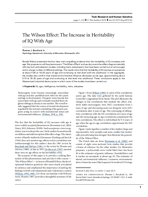 Iq And Fade Out Effect Environmental >> Pdf The Wilson Effect The Increase In Heritability Of Iq With Age