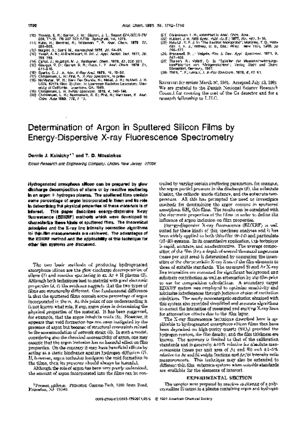 PDF) Determination of argon in sputtered silicon films by energy