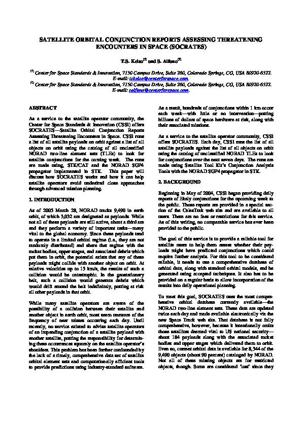 PDF) Satellite Orbital Conjunction Reports Assessing Threatening